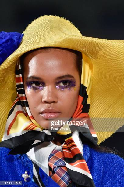 Detailed view of a model's fashion in the runway during the Marc Jacobs Spring 2020 Runway Show at Park Avenue Armory on September 11, 2019 in New...