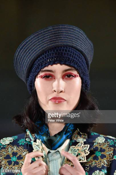 Detailed view of a model's fashion in the runway during the Marc Jacobs Spring 2020 Runway Show at Park Avenue Armory on September 11 2019 in New...