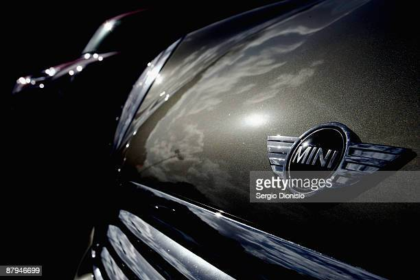 A detailed view of a modern Mini Cooper badge is seen during the 50 year celebration of the Mini in Australia at Harold Park Raceway on May 24 2009...