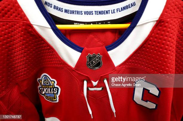 A detailed view of a Montreal Canadiens jersey is seen in the locker room prior to 2020 NHL AllStar Skills Competition at Enterprise Center on...