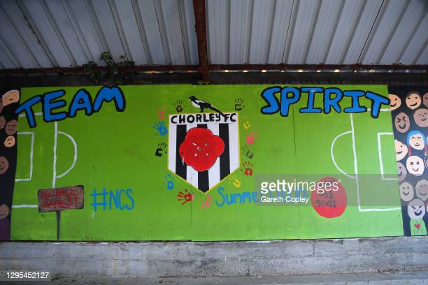 Detailed view of a mural is seen inside the ground prior to the FA Cup Third Round match between Chorley and Derby County at Victory Park on January...