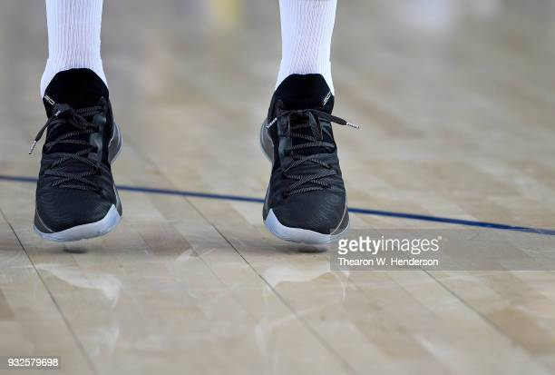"""A detailed view of a new Stephen Curry Under Armour Basketball """"Pi Day"""" Curry 5 shoe worn by Stephen Curry of the Golden State Warriors while he..."""