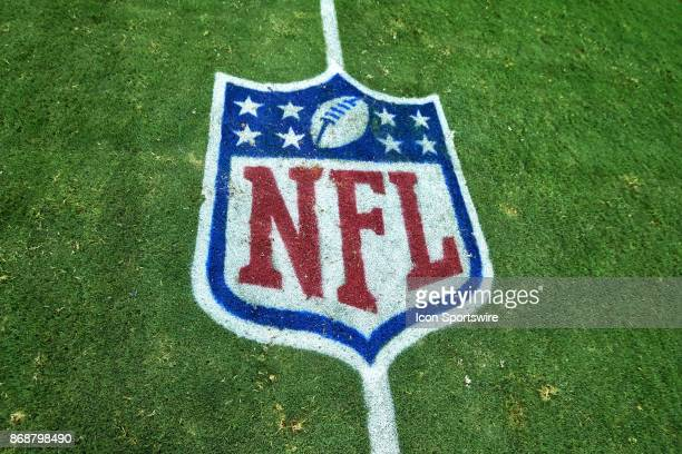A detailed view of a NFL Crest logo is seen on the field during the NFL game between the Arizona Cardinals and the San Francisco 49ers at the...