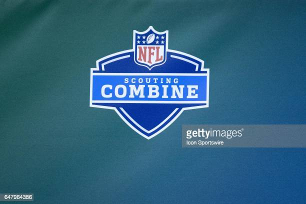 A detailed view of a NFL Scouting Combine logo is diplayed during the NFL Scouting Combine on March 3 2017 at Lucas Oil Stadium in Indianapolis IN