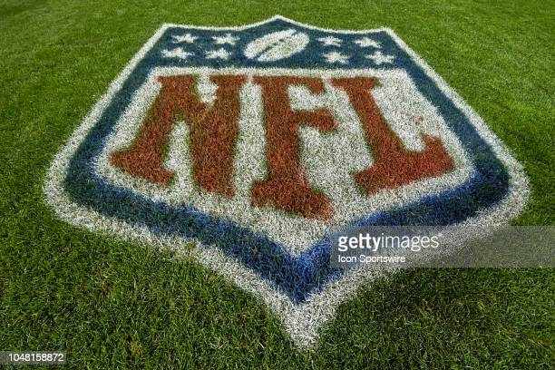 A detailed view of a NFL Shield crest logo is seen painted on the field in game action during an NFL game between the Chicago Bears and the Seattle...