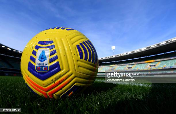 Detailed view of a Nike match ball with Serie A branding ahead of the Serie A match between Hellas Verona FC and SSC Napoli at Stadio Marcantonio...