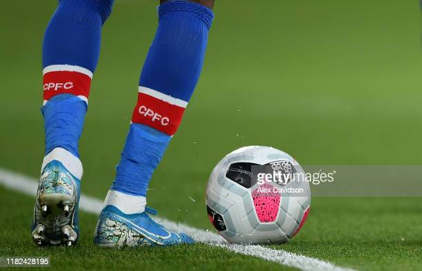 A detailed view of a No Room for Racism match match ball during the Premier League match between Crystal Palace and Manchester City at Selhurst Park...
