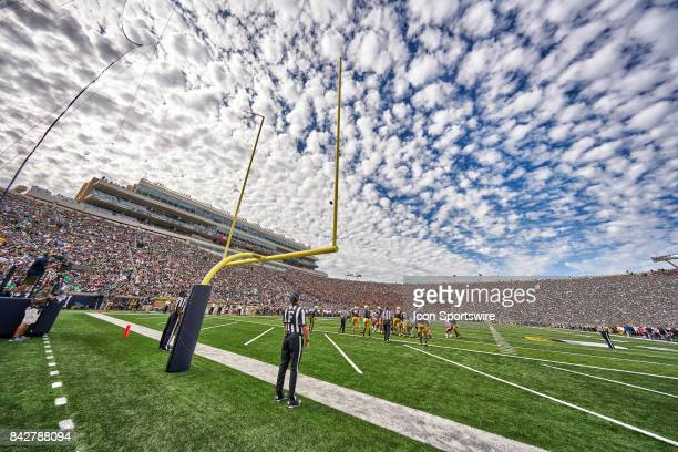 Detailed view of a Notre Dame Fighting Irish goal post is seen on the field as a football is kicked for a field goal during the NCAA football game...