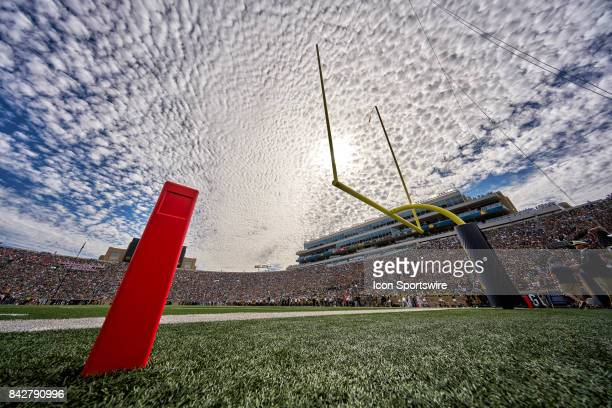 A detailed view of a Notre Dame Fighting Irish goal post is seen on the field during the NCAA football game between the Notre Dame Fighting Irish and...