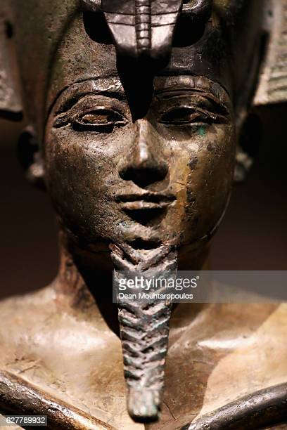 A detailed view of a Osiris sculpture in the permanent Egyptian collection and also part of the 'Queens of the Nile' Exhibition held at the National...