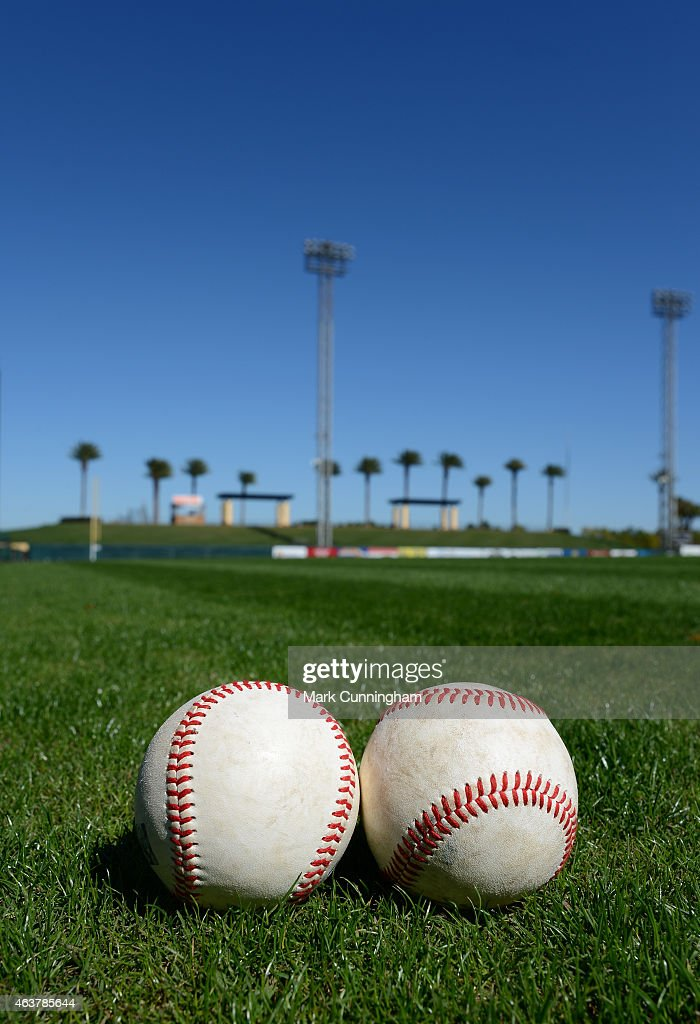 A detailed view of a pair of baseballs sitting on the field one day prior to the Detroit Tigers pitchers and catchers Spring Training report date at Joker Marchant Stadium on February 18, 2015 in Lakeland, Florida.