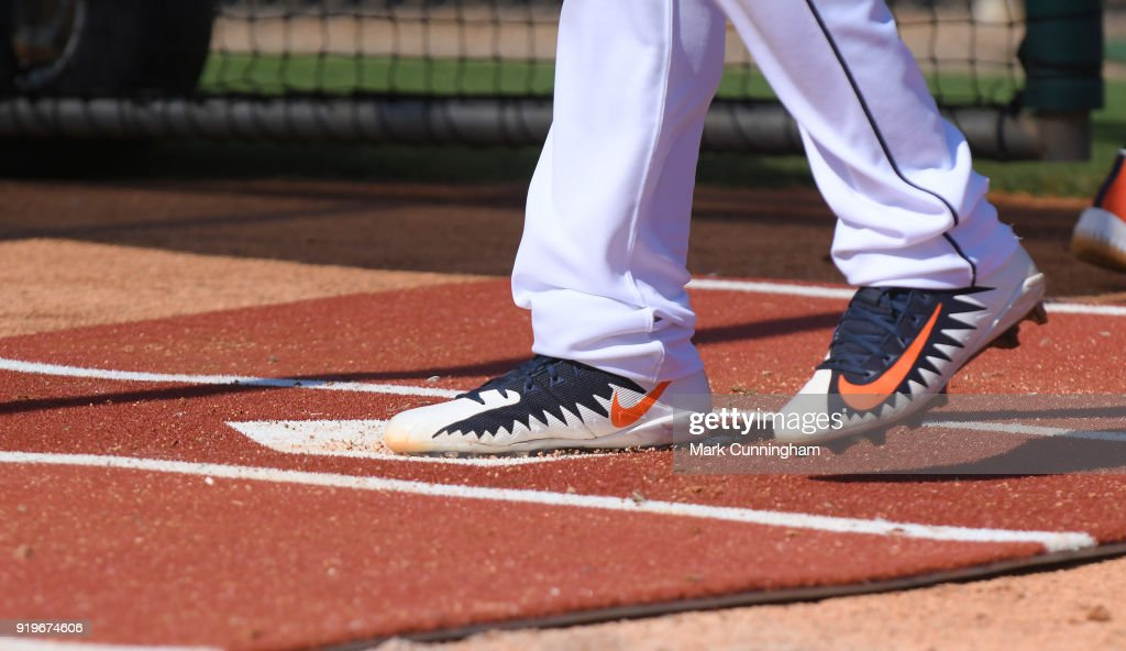A detailed view of a pair of Nike baseball shoes worn by a Detroit Tigers player during Spring Training workouts at the TigerTown Facility on February 16, 2018 in Lakeland, Florida.