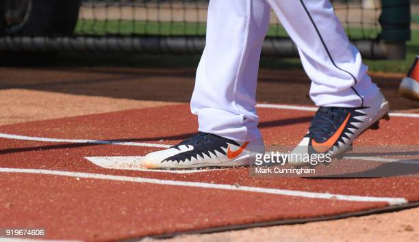 A detailed view of a pair of Nike baseball shoes worn by a Detroit Tigers player during Spring Training workouts at the TigerTown Facility on...
