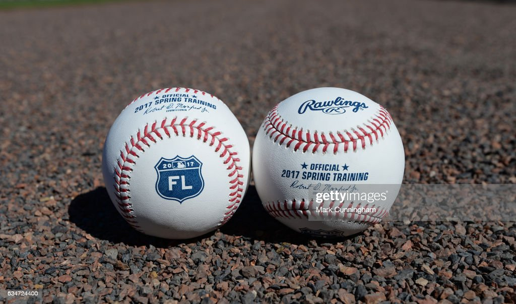 A detailed view of a pair of official Rawlings 2017 Florida Grapefruit League Spring Training baseballs sitting on the field at Publix Field at Joker Marchant Stadium on February 10, 2017 in Lakeland, Florida.