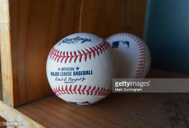 A detailed view of a pair of official Rawlings Major League Baseball baseballs with the imprinted signature of Robert D Manfred Jr the Commissioner...