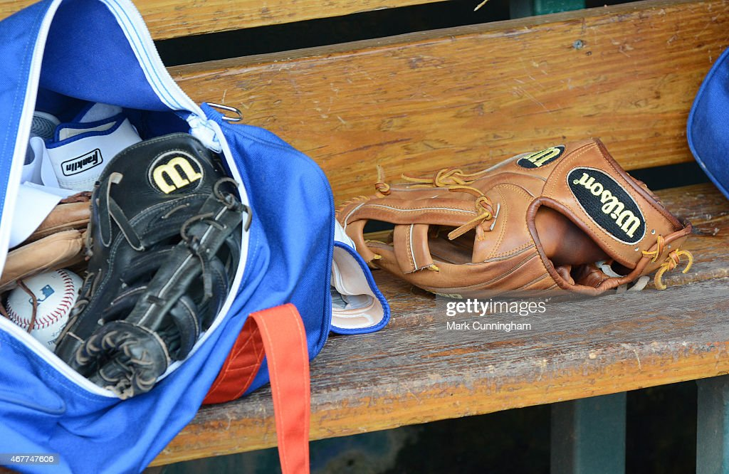 A detailed view of a pair of Wilson baseball gloves sitting in the dugout prior to the Spring Training game between the Detroit Tigers and the New York Mets at Joker Marchant Stadium on March 21, 2015 in Lakeland, Florida. The Tigers defeated the Mets 6-4.