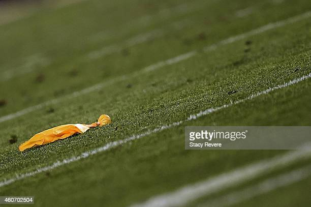 Detailed view of a penalty flag during a game between the Jacksonville Jaguars and the Tennessee Titans at EverBank Field on December 18 2014 in...