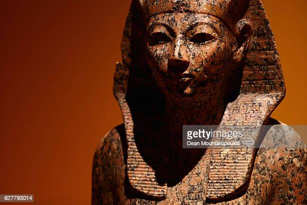 A detailed view of a piece found in the grave goods of Hatsheput displayed in the 'Queens of the Nile' Exhibition held at the National Museum of...