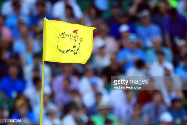 A detailed view of a pin flag is seen during the first round of the Masters at Augusta National Golf Club on April 11 2019 in Augusta Georgia