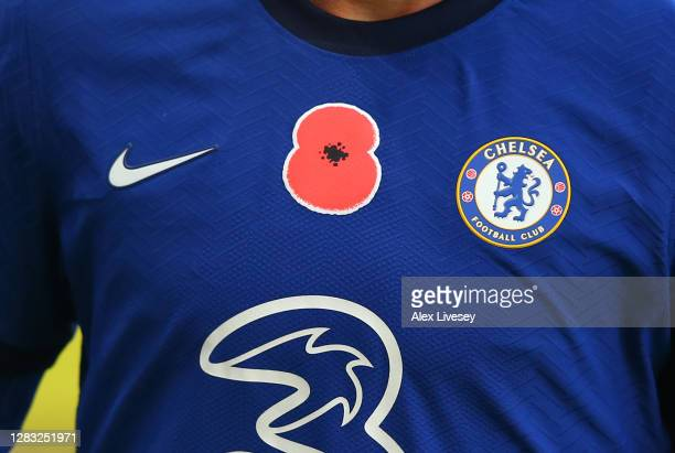 A detailed view of a poppy is seen on a Chelsea shirt ahead of Armistice Day during the Premier League match between Burnley and Chelsea at Turf Moor...