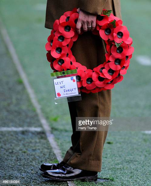 Detailed view of a Poppy ring displaying the message 'Lest we Forget' during the Sky Bet Championship match between Cardiff City and Reading at the...