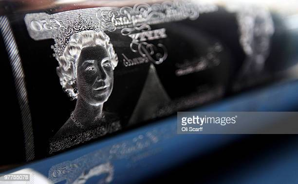 A detailed view of a portrait of Queen Elizabeth II on an Intaglio Printing Plate for the fifty pound note in the Bank of England Museum on March 16...