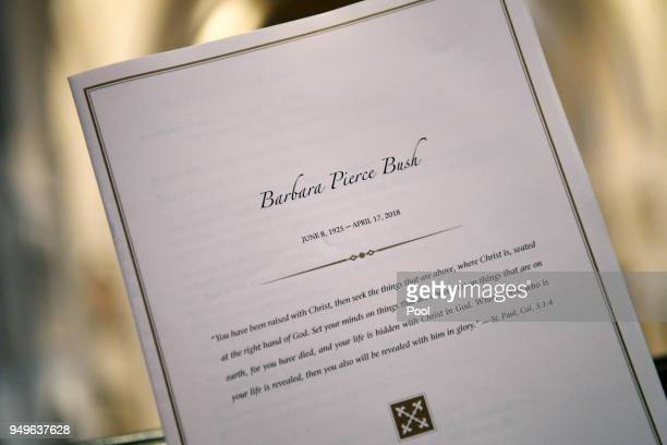 Detailed view of a program during the funeral for former First Lady Barbara Bush at St Martins Episcopal Church April 21 2018 in Houston Texas Bush...