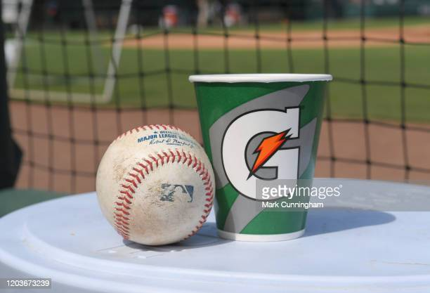 A detailed view of a Rawlings official baseball and a Gatorade cup sitting in the dugout prior to the Spring Training game between the Houston Astros...