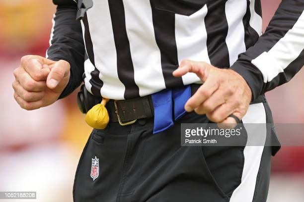 A detailed view of a referee's penalty flag at FedExField on October 14 2018 in Landover Maryland
