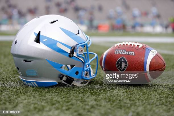 A detailed view of a Salt Lake Stallions helmet and game ball prior to an Alliance of American Football between the Birmingham Iron and the Salt Lake...