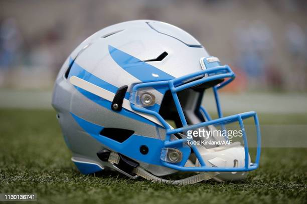 A detailed view of a Salt Lake Stallions helmet prior to an Alliance of American Football between the Birmingham Iron and the Salt Lake Stallions at...