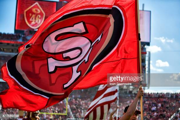 A detailed view of a San Francisco 49ers flag is seen during an NFL game between the Arizona Cardinals and the San Francisco 49ers on November 5 2017...