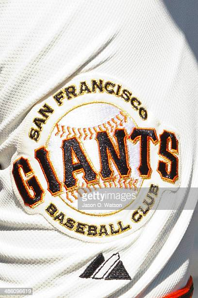 Detailed view of a San Francisco Giants logo on the sleeve of Buster Posey before the game against the Los Angeles Dodgers at ATT Park on April 17...