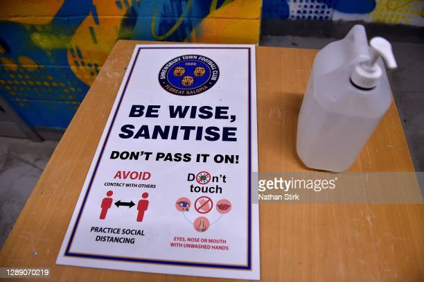 Detailed view of a sanitising station inside of the stadium during the Sky Bet League One match between Shrewsbury Town and Accrington Stanley at...