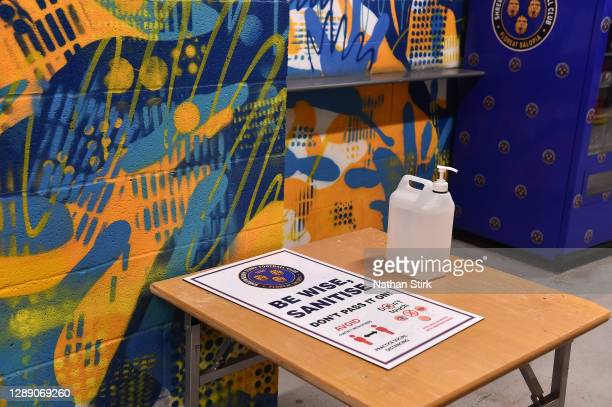 Detailed view of a sanitizing station inside of the stadium during the Sky Bet League One match between Shrewsbury Town and Accrington Stanley at...