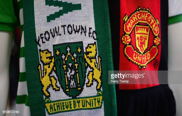 Detailed view of a scarf containing the badges of the two sides during The Emirates FA Cup Fourth Round match between Yeovil Town and Manchester...