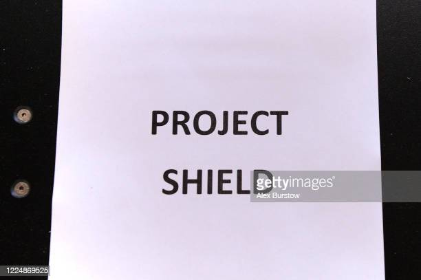 A detailed view of a sheet of paper which displays the name 'Project Shield' in the Church Crookham and Fleet Men's Shed on May 06 2020 in Church...