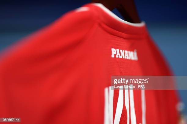 A detailed view of a shirt hanging inside the Panama dressing room prior to the 2018 FIFA World Cup Russia group G match between England and Panama...
