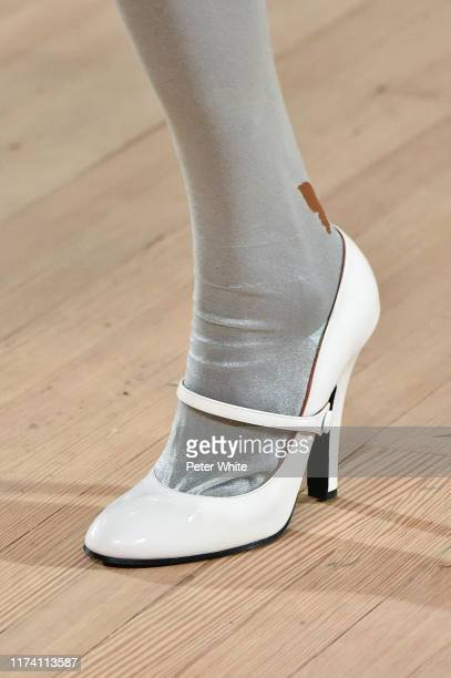 Detailed view of a shoe worn by a model in the runway during the Marc Jacobs Spring 2020 Runway Show at Park Avenue Armory on September 11, 2019 in...