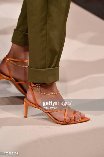 Detailed view of a shoe worn by a model while she walks the runway for Oscar de la Renta during New York Fashion Week: The Shows on September 10,...