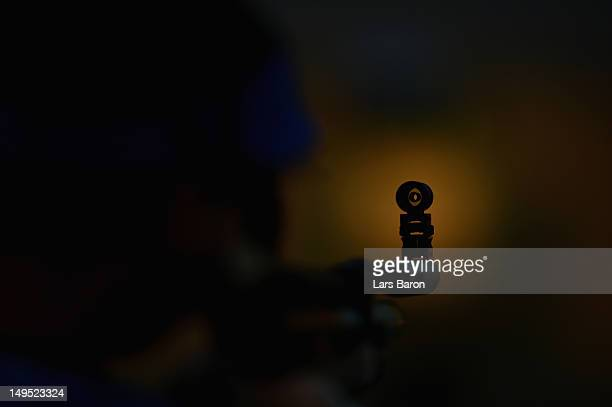 A detailed view of a sight during the Men's 10m Air Rifle qualification on Day 3 of the London 2012 Olympic Games at The Royal Artillery Barracks on...