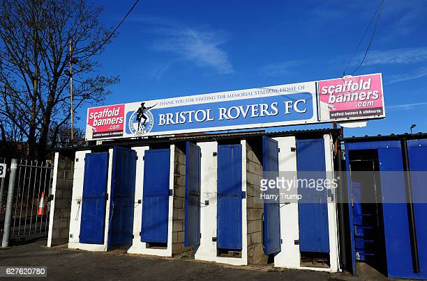 Detailed view of a sign during the Emirates FA Cup Second Round match between Bristol Rovers and Barrow FC at the Memorial Stadium on December 4 2016...