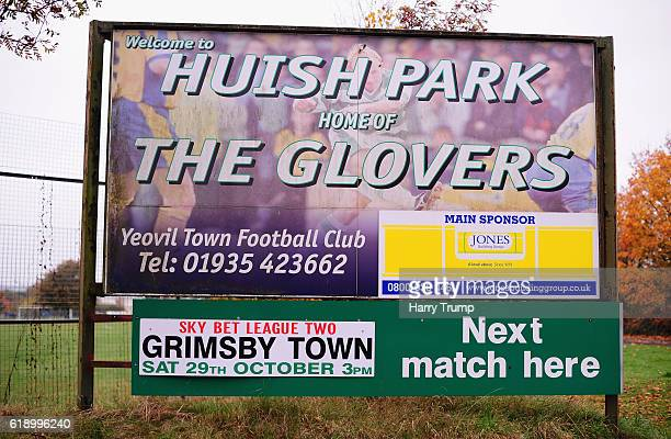 Detailed view of a sign during the Sky Bet League Two match between Yeovil Town and Grimsby Town at Huish Park on October 29 2016 in Yeovil United...