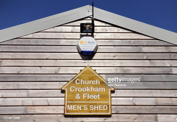 A detailed view of a sign on the Church Crookham and Fleet Men's Shed on May 06 2020 in Church Crookham England Following the COVID19 outbreak the...