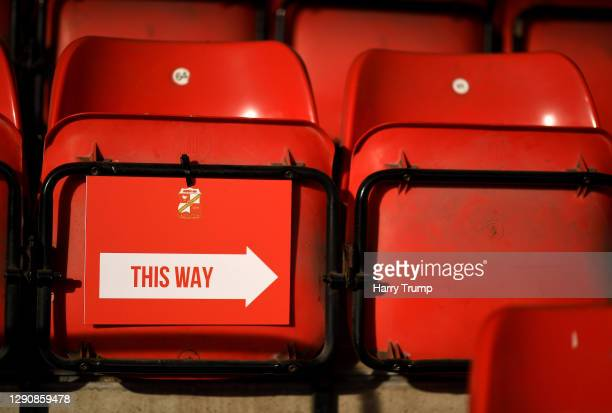 Detailed view of a sign relating to the one way system inside of the stadium during the Sky Bet League One match between Swindon Town and Fleetwood...
