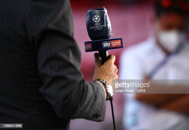 A detailed view of a Sky Sports microphone wrapped in cling film is seen prior to the UEFA Champions League Final match between Paris SaintGermain...