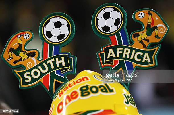 A detailed view of a South Africa makarapa during the 2010 FIFA World Cup South Africa Group A match between South Africa and Uruguay at Loftus...