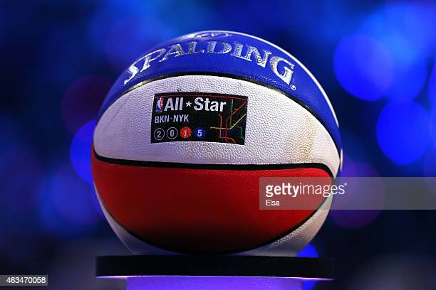 A detailed view of a Spalding Basketball during the Taco Bell Skills Challenge as part of the 2015 NBA Allstar Weekend at Barclays Center on February...