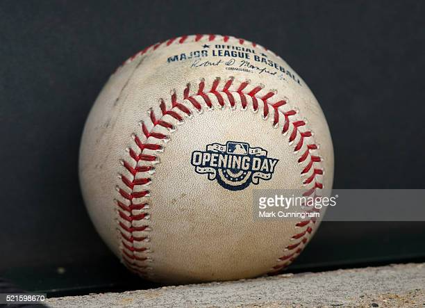A detailed view of a special official Rawlings Opening Day game used baseball sitting in the dugout during the game between the Detroit Tigers and...