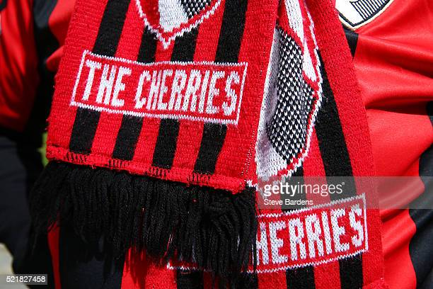 Detailed view of a spectators scarf ahead of the Barclays Premier League match between AFC Bournemouth and Liverpool at the Vitality Stadium on April...